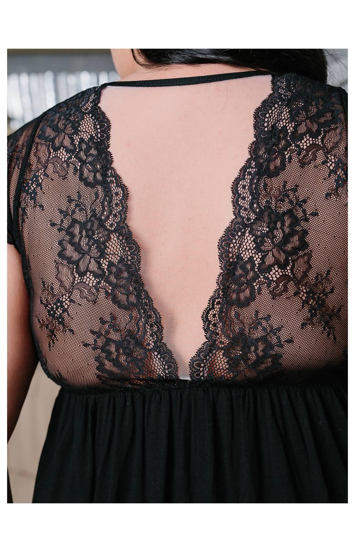 Сорочка с топом Riva 830 кружевная (Черный)